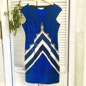 {Maggy London} Blue Sheath Cap Sleeve Midi Dress